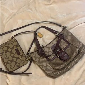 Coach purse with matching wristlet